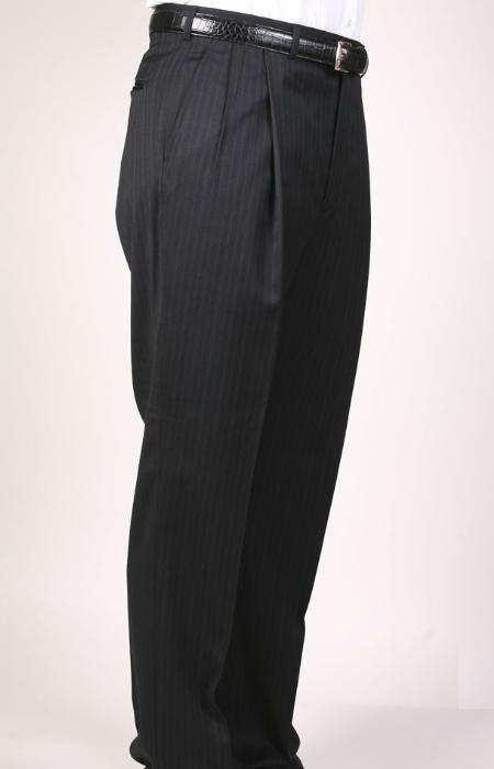 SKU#PQ6396 Black Pinstripe Bond Flat Front Trouser $69