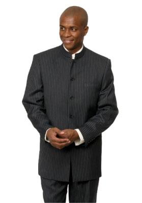 SKU# MNP2 Black Pinstripe Mandarin Collar 5 button chinese nehru banded collar style Suit $125