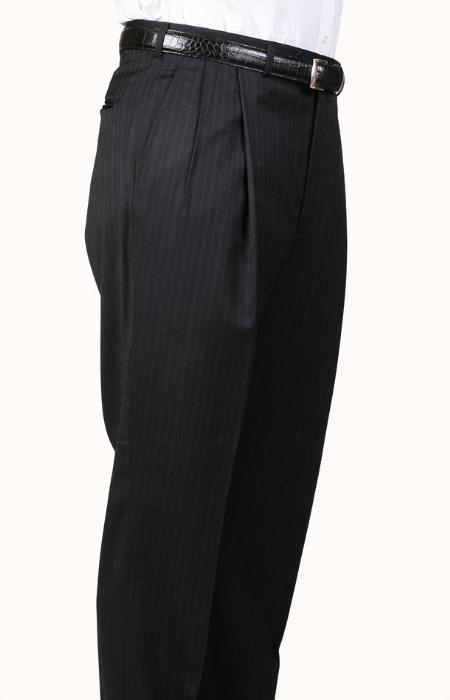 SKU#IX2396 Black Pinstripe, Parker, Pleated Pants Lined Trousers $99