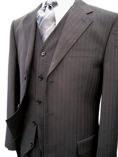 SKU#STK273 Black Pinstripe Super 120s Wool Feel Extra Fine Poly~Rayon Vested three piece suit Available in 2 buttons only