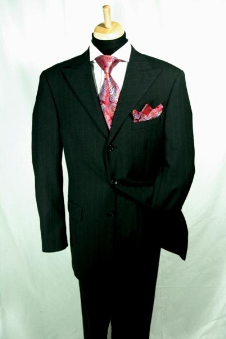 SKU#ER567 Black Pinstripe Wide Leg 100% Super 150 Wool Suit