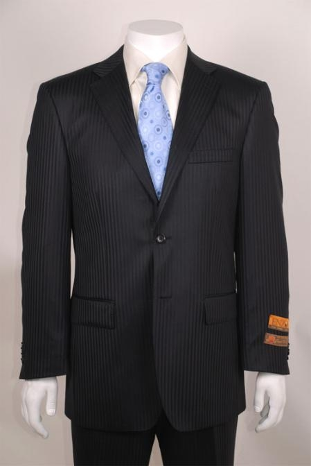 SKU#AE213 Black Shadow Stripe 2 Button Vented without pleat flat front Pants $139