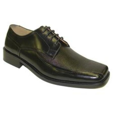 SKU#Z30158 Black Shoe leather upper square toe Lightly padded footbed Only $75