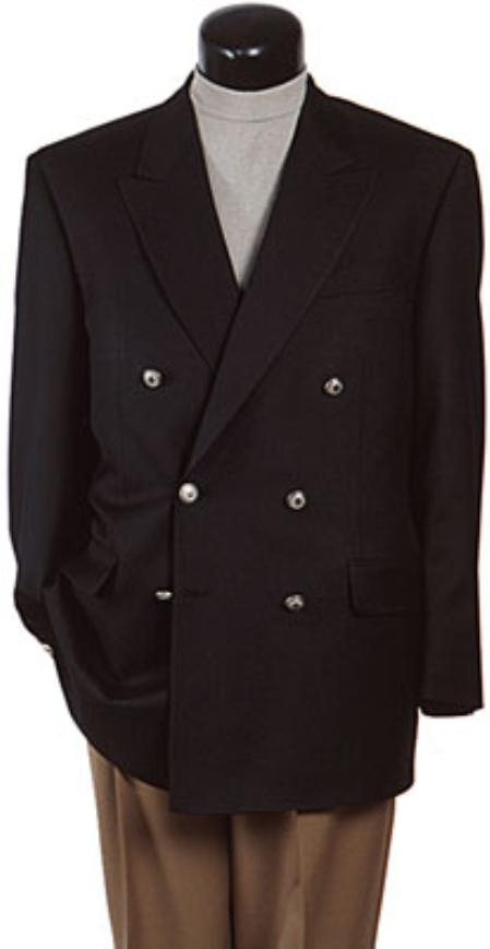 SKU# APD183 Z762TA Black Six Button Double Breasted Performance Blazer Jacket Coat
