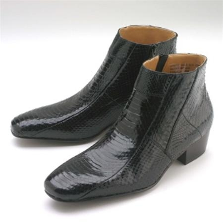 SKU#BHU391 Black Snakeskin Demi Zip Boot $119