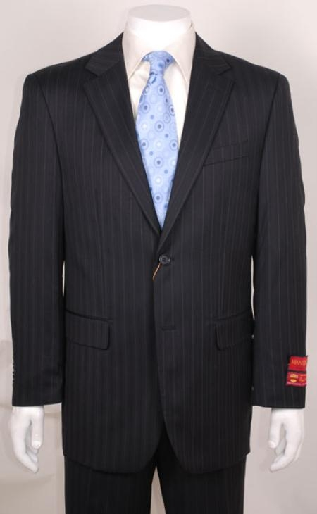 SKU#WE456 Black Stripe ~ Pinstripe 2 Button without pleat flat front Pants Wool