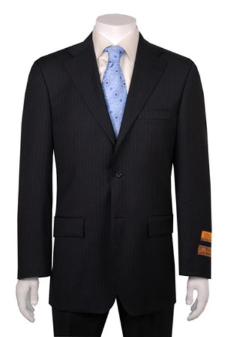 SKU#SA132 Black Stripe 2 Button Vented Wool Feel Poly~Rayon cheap discounted Suit without pleat flat front Pants $299