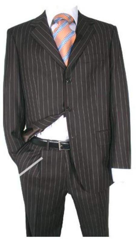 SKU# 123 Black Super 120s Super fine Wool feel poly~rayon  Chalk Bold Pinstripe  $149