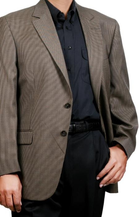 MensUSA.com Black Tan Check Two Button Fall Winter Mens Sport Coat (Exchange only policy) at Sears.com