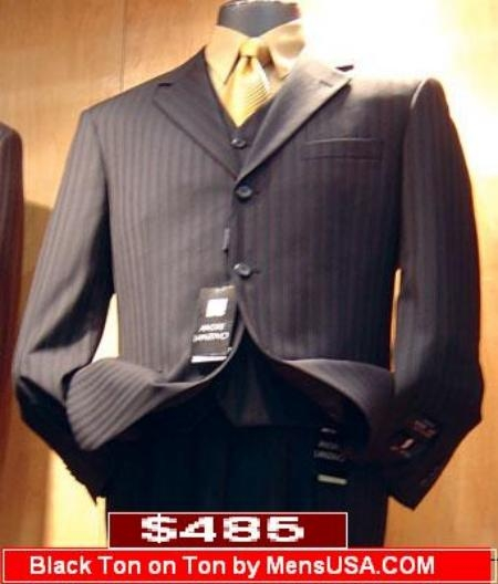 SKU# EFI640 $485 Black tone on tone Pinstripe Vested 3 Buttons Mens Suits Son Sale