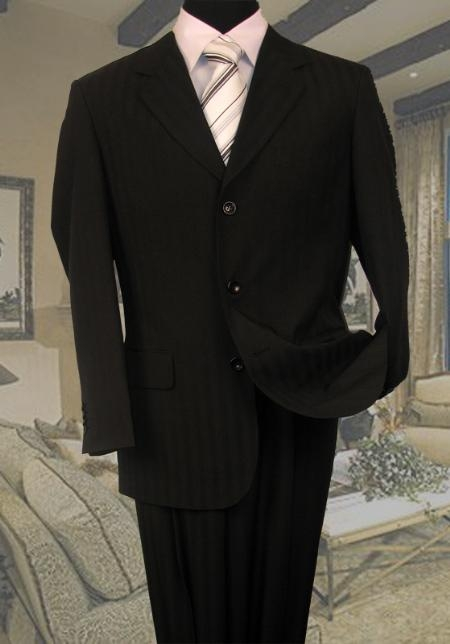 SKU#GF711 Black Tone On Tone Stripe Suit Super 120s Hand Made $139