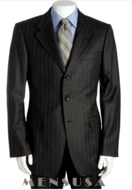 SKU# 229 Famous Black Tone on Tone Shadow Pinstripe Super 120s Wool Suits $275