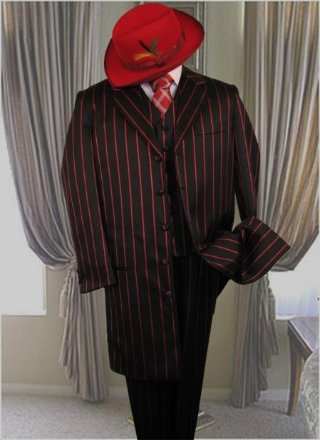 SKU#GS731 Black W/Red Pinstripe & Bold Pronounce 3PC Fashion Zoot Suit $499