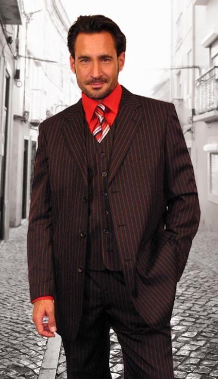Sku La452 Black W Red Pinstripe Suit 149 Mens Suits Reg