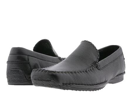 SKU# : 14831Black Whip stitch moc toe slip on. Stitched to sole for maximum comfort and flexibility