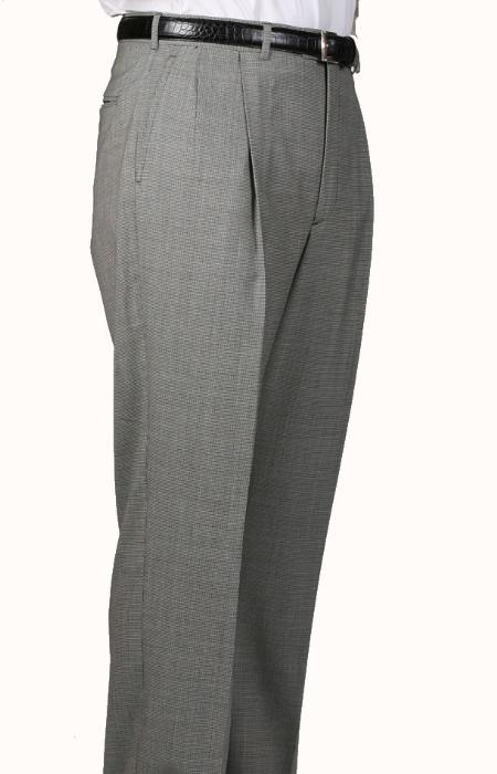 SKU#VZ1074 Black/White Check Parker Pleated Pants Lined Trousers