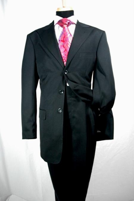 SKU#RT678 Black Wide Leg 100% Wool Suit