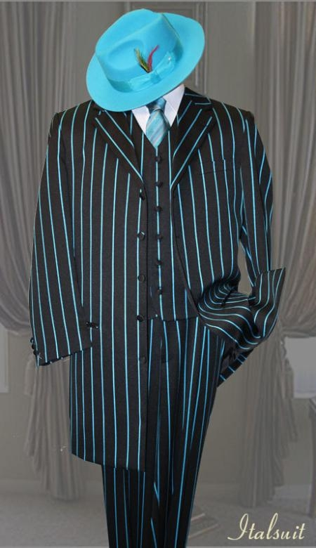 SKU#PL556 Black With turquoise ~ Light Blue Colored Pinstripe Mens Fashion Suit 3PC With Vest & Wide Leg Pants $159