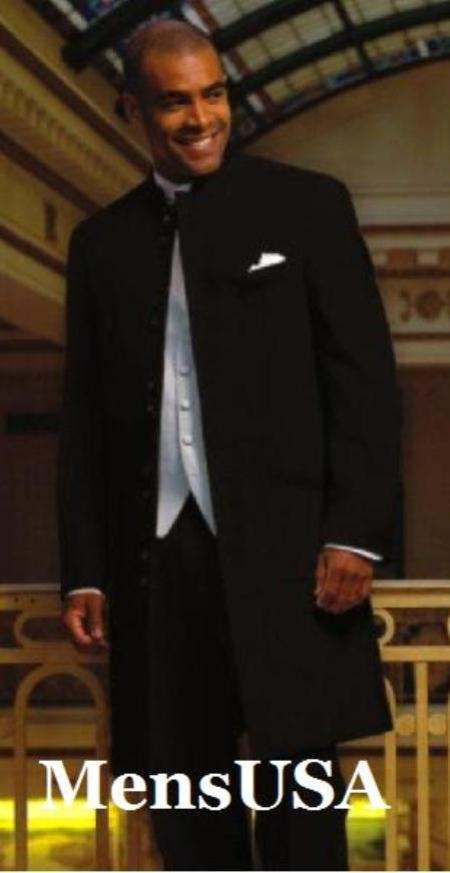 MensUSA.com Black Zoot Suit Style 45 Icnh Full Length Mandarin Collar 10 Button 5 cross 2 Pair (Exchange only policy) at Sears.com