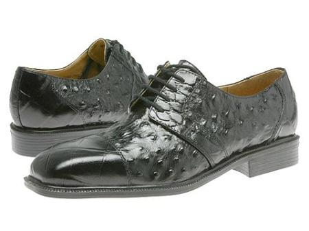 SKU# 15611 Black classic oxfords croco and ostrich print uppers exotic print shoes $99