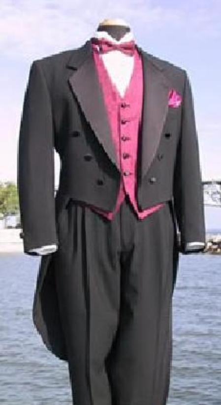 SKU#BH811 Black or White Classic Fashion Basic Full Dress Tailcoat with Notch Collar 6 Buttons Pleated Pants $120