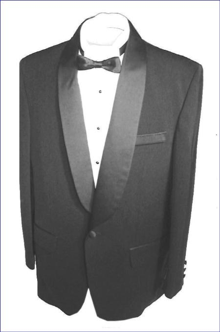 SKU#SH712 Black single button, shawl collar tuxedo jacket and pants with besom pocket