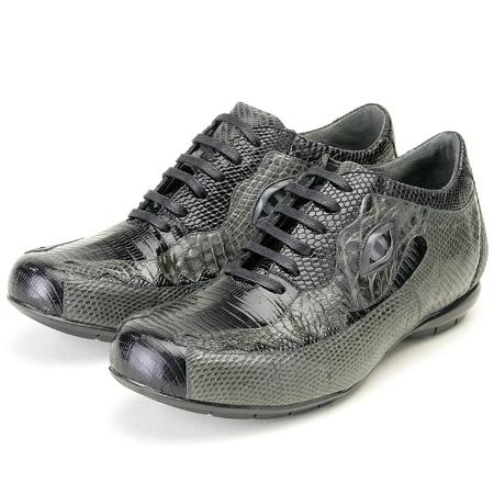 SKU#MH509 Blk/Grey, Genuine Lizard/Crocodile by Belvedere Sneakers $239