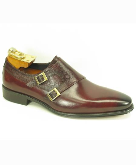Men's Double Buckle Style Ox-Blood Leather Fashionable Carrucci Shoes