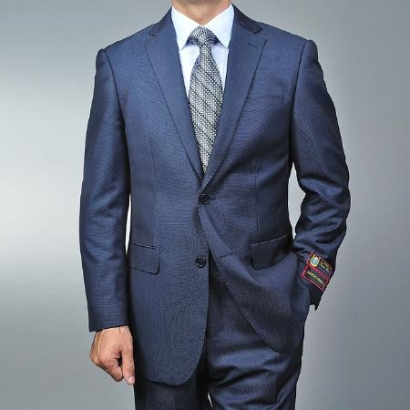 SKU#TR7539 Men's Blue Teakweave 2-button Suit
