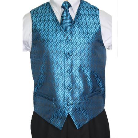 Blue/Black Vest Tie 4-Piece