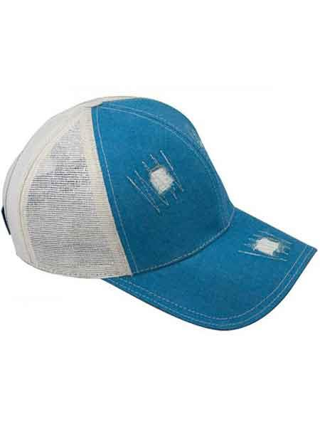 Genuine Baseball Cap Blue/Off White CACHUCHA DE COCODRILO Ostrich World Best Alligator ~ Gator Skin Exotic Skin