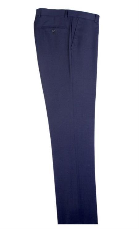 Buy SM4704 Men's Tiglio Dress Slacks Modern Fit Blue Birdseye Pattern Wool Flat Front Pants