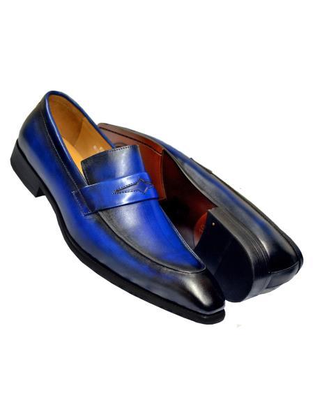 5a3e33334 Carrucci Men's Slip On Burnished Genuine Calfskin Leather Blue Shoe