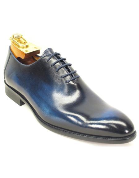 Carrucci Men's Laceup Style Cobalt Blue Genuine Calfskin Leather Teal Dress Shoe Oxford Shoes