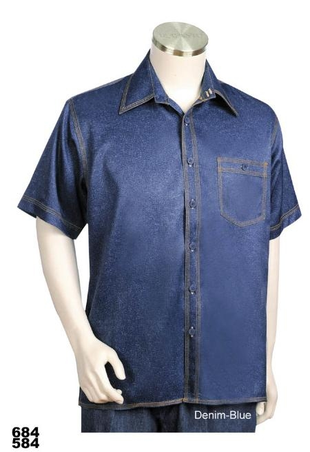 SKU#DB5544 Casual Walking Suit Set (Shirt & Pants Included) Denim Blue