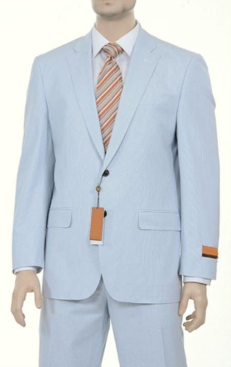 Seersucker Sear sucker suit Style Fine Blue Pinstriped Spring Summer Weight Cotton Suit