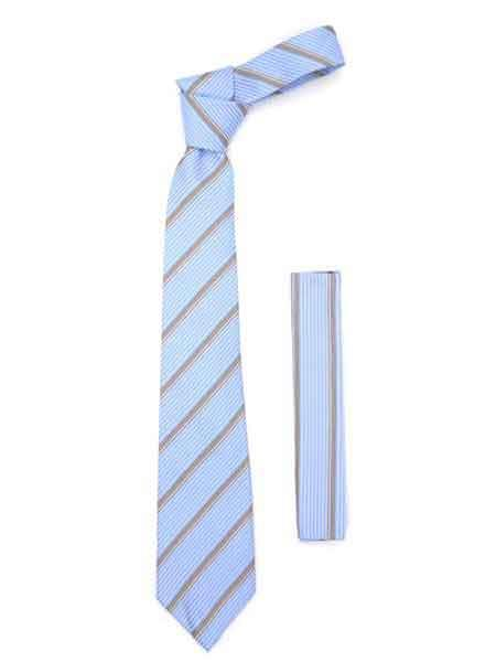 Fashionable Microfiber Striped Baby Blue NeckTie And Hankie Set