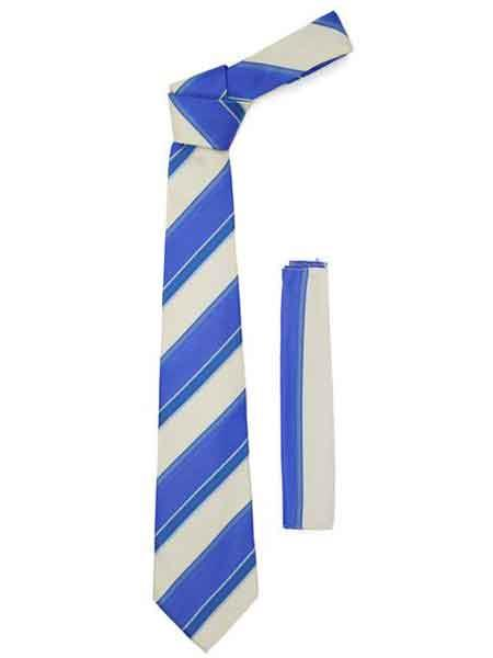 Microfiber Fashionable Striped NeckTie And Hankie Set Blue Beige