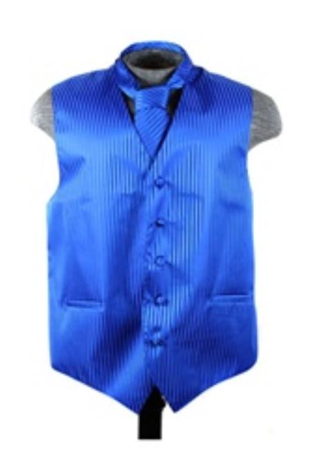 Dress Tuxedo Wedding Vest ~ Waistcoat ~ Waist coat Tie Set Blue Buy 10 of same color Tie For $25 Each