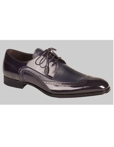 Buy GD507 Men's Blue Deerskin Inlay Wingtips Leather Shoes Authentic Mezlan Brand