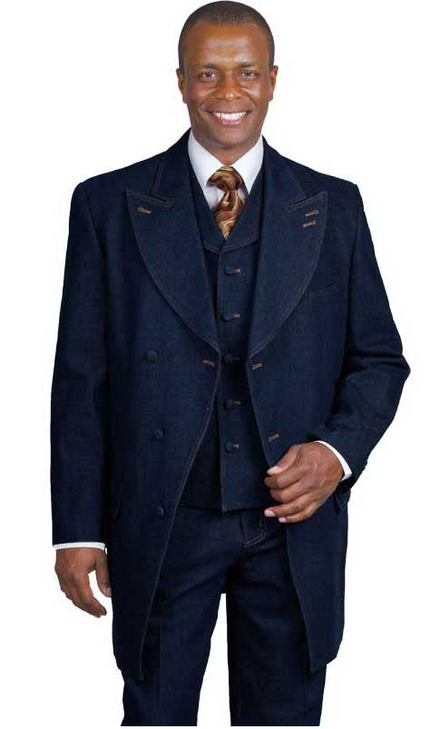 Mens Blue Denim Vested Urban Suit