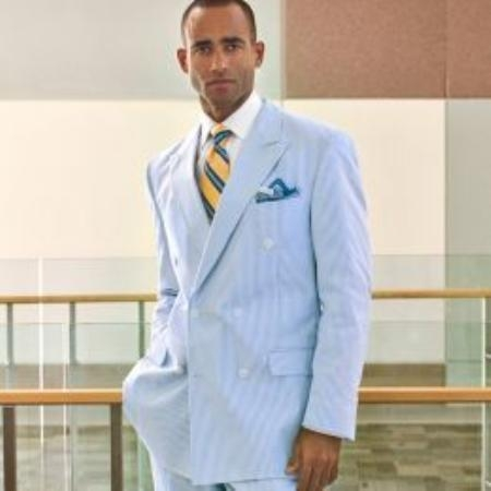 Seersucker Double-Breasted Suit Jacket Separate