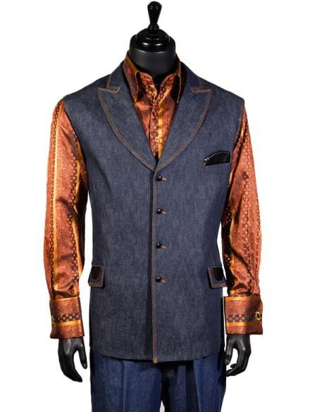 Men's Double Breasted Blue Denim 2 Pc Lapel Dress Tuxedo Wedding Men's Vest ~ Waistcoat ~ Waist coat and Pants Casual Two Piece Walking Outfit For Sale Pant Sets Package Combo ~ Combination Suit
