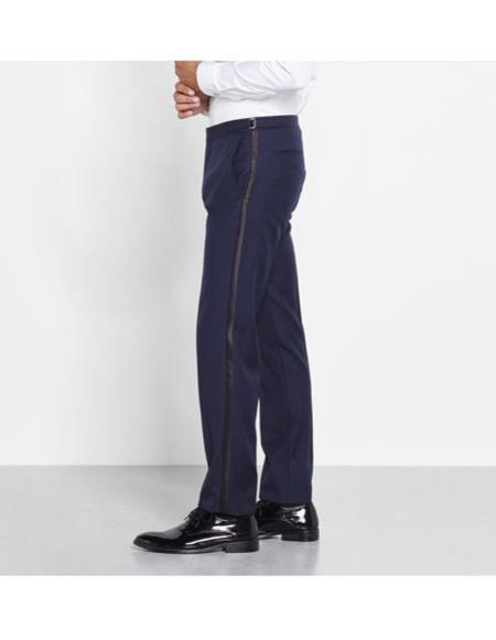 Men's Classic Midnight Blue tuxedo Flat Front Pants