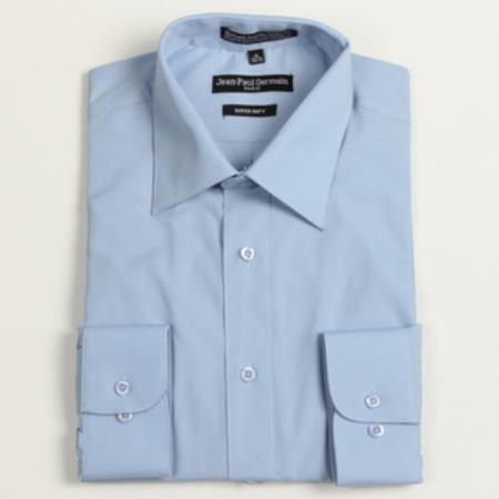 Medium Blue Convertible Cuff Big & Tall Shirt 18 19 20 21 22 Inch Neck Men's Dress Shirt