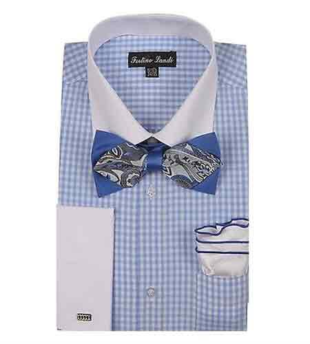 Buy SM1199 Men's White Collar Two Toned Contrast Blue Checks Design Bow Tie Hanky French Cuff Dress Shirt