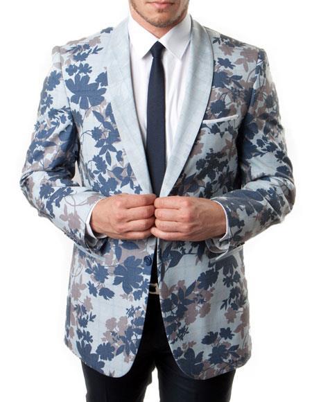 SKU#KH66 Men's Blue and Gray Slim Fit Tuxedo Jacket 100% Wool Blazer Floral Pattern Large Shawl Lapel