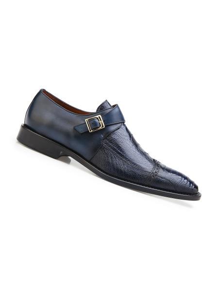 Men's Blue Safari Genuine Ostrich And Italian Calf Single Buckle Shoes