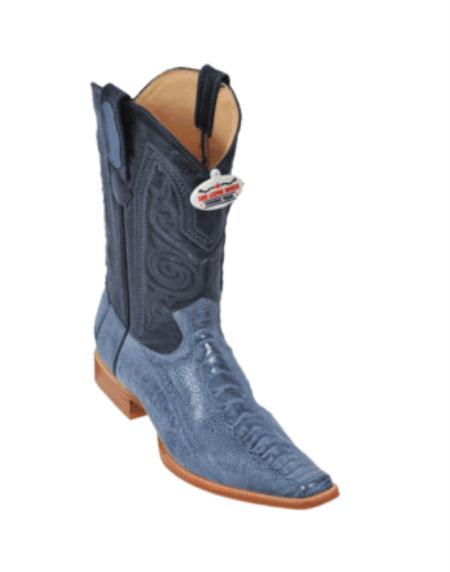SKU#BY8736 Blue Jean Ostrich Leg Cowboy Boots