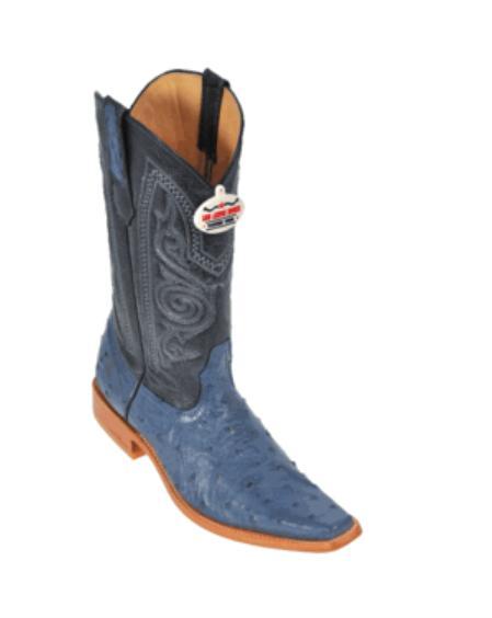 SKU#GB3400 Blue Jean Ostrich Cowboy Boots